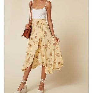 Reformation Newman Wrap Skirt in Tuscany (yellow)